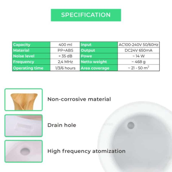 specification-of-Smart-ultrasonic-aroma-diffuser